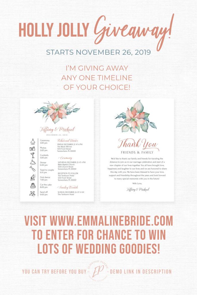 Floral Wedding Timeline Giveaway Elmwood Paperie