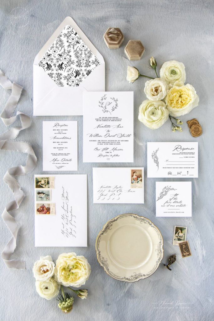 Elegant Black And White Wedding Invitations Elmwood Paperie